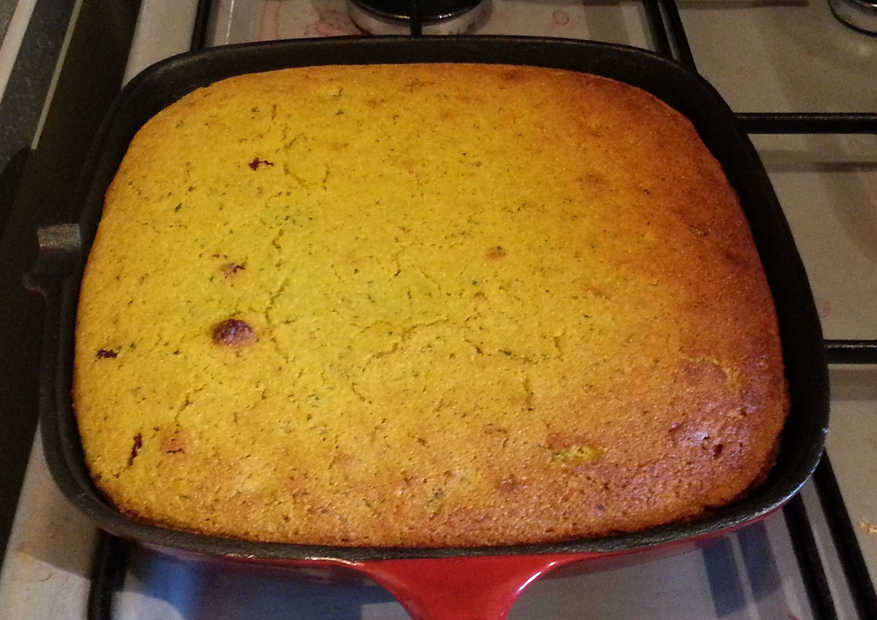If you squint at this griddle pan of cornbread, you can see a skillet!